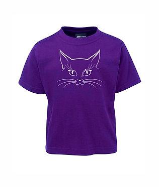 kids cotton t-shirt purple cat face image front view