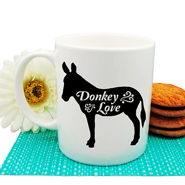 Ceramic coffee mug with donkey image and text donkey love in black and white front view