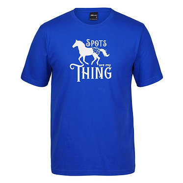 Adults t-shirt royal blue Appaloosa horse spots are my thing front view