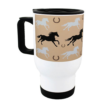 Travel mug stainless steel with pattern horse image front view