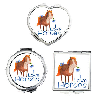 Compact mirrors in 3 shapes heart, round and square cute I love horses image front view