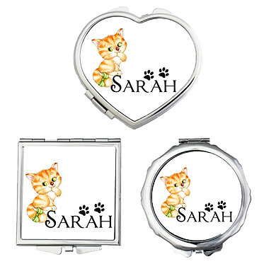 Compact mirrors three shapes round, square, heart personalized with name and cute kitty with bow image front view