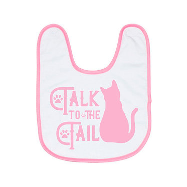 Babies bib with pink trim and cat talk to the tail image front view