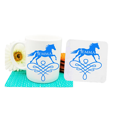 Personalised coffee mug and coaster set horse on scroll blue image front view