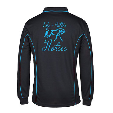 Adults long sleeve polo shirt black aqua life is better with horses image back view
