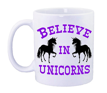 Purple unicorn coffee mug front view