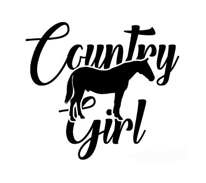 Country girl with horse decal sticker front view in black