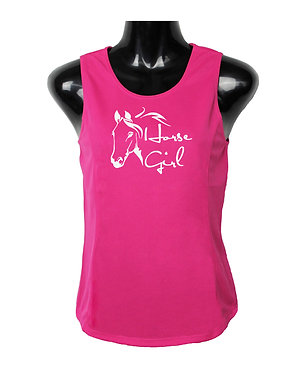 Hot pink with white image horse girl ladies singlet top front view
