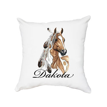 Personalised white cushion with zip paint horse with feathers image front view
