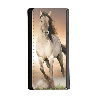 Ladies/girls purse wallet buckskin horse cantering image front view