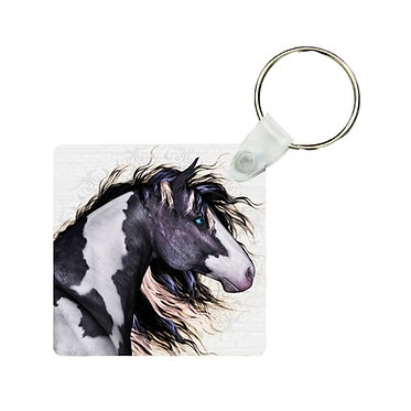 Square MDF wood key-ring black and white paint horse image front view