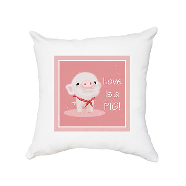 White cushion cover with cute pig and text i love pigs! front view