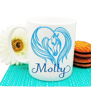 Personalised ceramic coffee mug majestic horse blue image front view