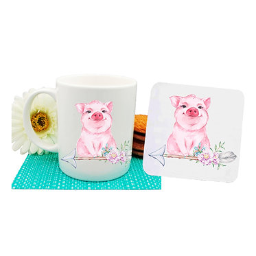 Coffee mug and drink coaster set with a cute pig sitting on arrow with flowers front view