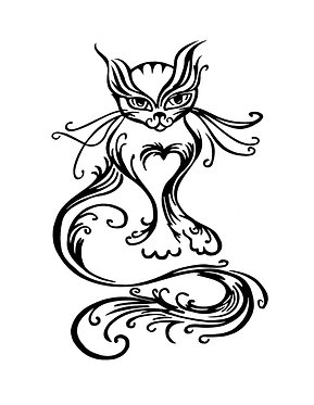 Fancy cat decal sticker in black front view