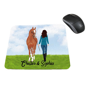 Neoprene computer mouse pad personalised brown haired girl and horse image front view