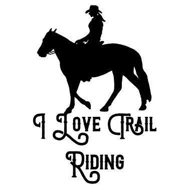 Horse vinyl decal sticker i love trail riding in black front view