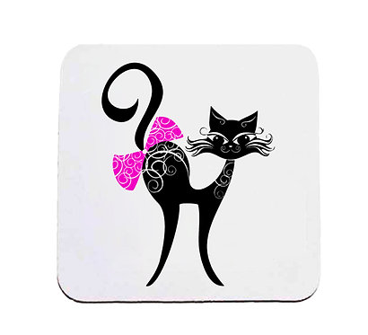Neoprene drink coaster black cat with bow image front view