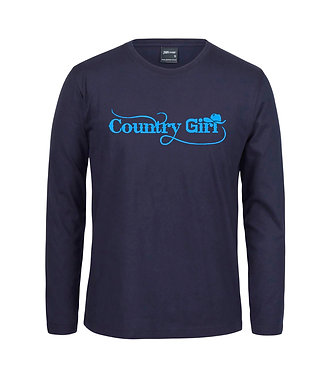 Adults long sleeve t-shirt navy with blue country girl with hat image front view