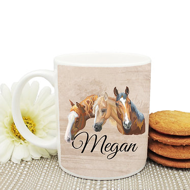Ceramic coffee mug personalized with text three horses image front view