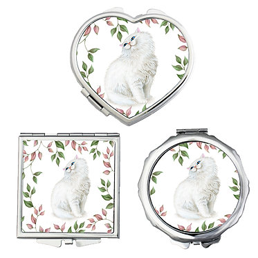 Cat theme compact mirror set shapes round, square, heart with white cat image front view