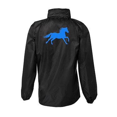 Rain sheet adults black with aqua cantering horse image back view