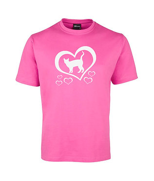 Adults t-shirt hot pink with cat with hearts image front view
