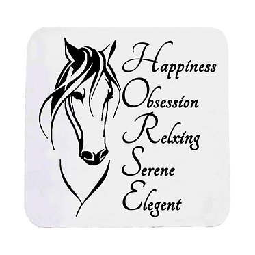 Neoprene drink coaster with horse and quote image front view