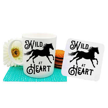"""Ceramic coffee mug and drink coaster set with horse and quote """"wild at heart"""" image front view"""