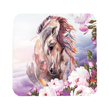 Neoprene drink coaster horse with pink & purple flowers image front view
