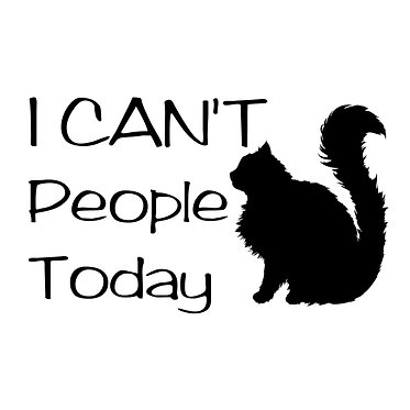 Cat vinyl decal sticker with quote i can't people today in black front view