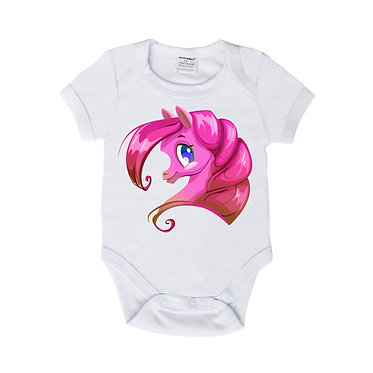 Baby romper onsie in white with pink pony frony view