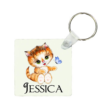 Personalized square keyring cute kitty sitting with name image front view