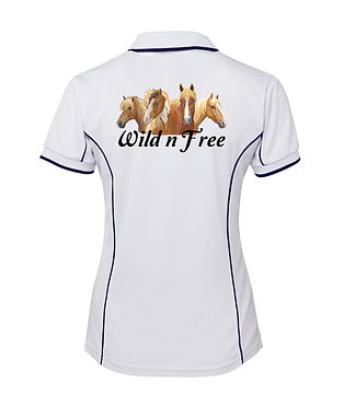 White with dark navy piping ladies pipping polo top wild n free horses image back view
