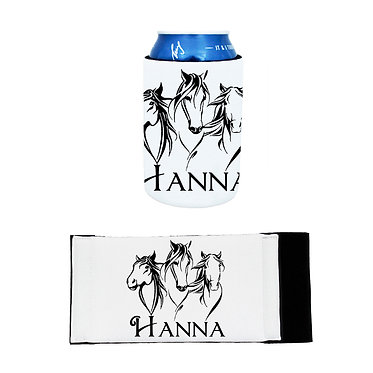 Personalised neoprene stubby cooler three horses image front and flat view