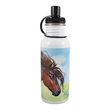 Stainless steel water bottle with beautiful horse image front view
