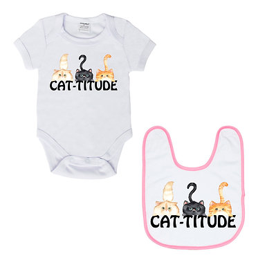 Baby romper play suit white with pink trim cat-titude image front view