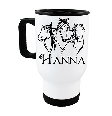 Personalised travel mug stainless steel three horses image front view