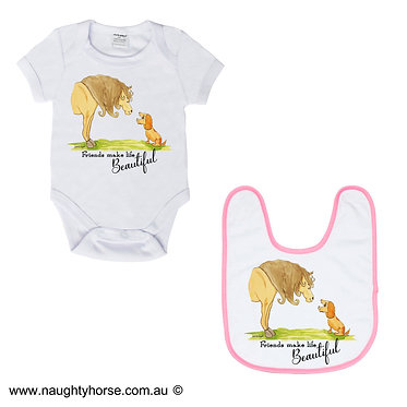 Baby romper play suit and matching bib gift set in white with soft pink trim on bib horse and dog friendship image front view