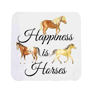 Neoprene drink coaster with happiness is horses image front view