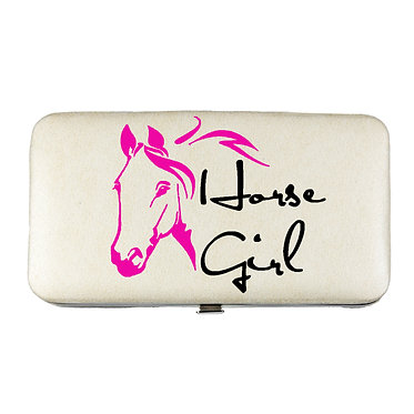 Ladies hard case purse wallet with mobile phone mount inside hot pink horse girl image view