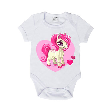 Baby romper onsie suit in white with pink hearts pony front view