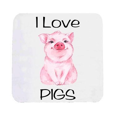 Neoprene drink coaster with i love pigs image front view