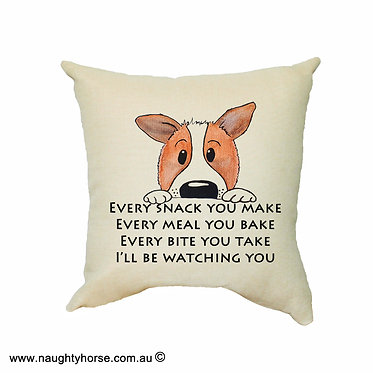 """Tan cushion cover with zip cute dog image with quote """"every snack you make"""" front view"""