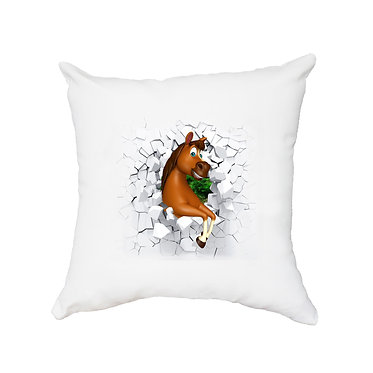 White cushion cover with cartoon horse breaking through wall image front view