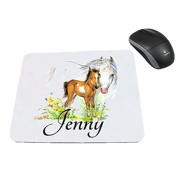 Neoprene computer mouse pad personalised mare and foal horse image front view