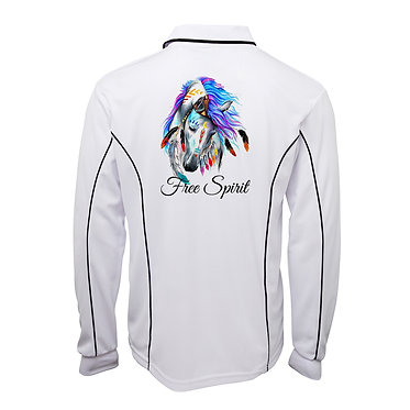 White with navy pipping adults long sleeve polo top spirit horse image back view