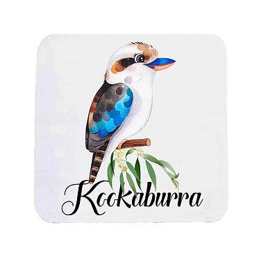 Neoprene drink coaster Australian Kookaburra image front view