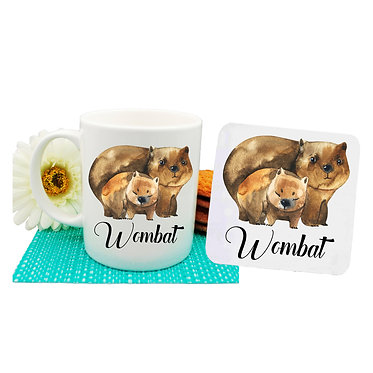 Ceramic coffee mug and drink coaster set Australian Wombat mother and baby image front view
