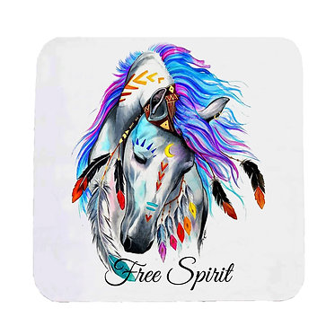 """Neoprene drink coaster with spirit horse and quote """"free spirit"""" front view"""